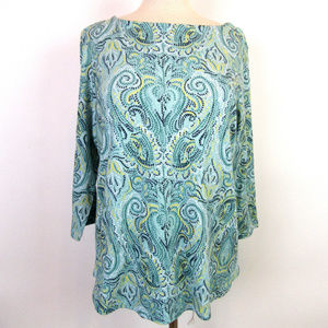 Charter Club 3X Green Paisley 3/4 Slv Top New A4-2